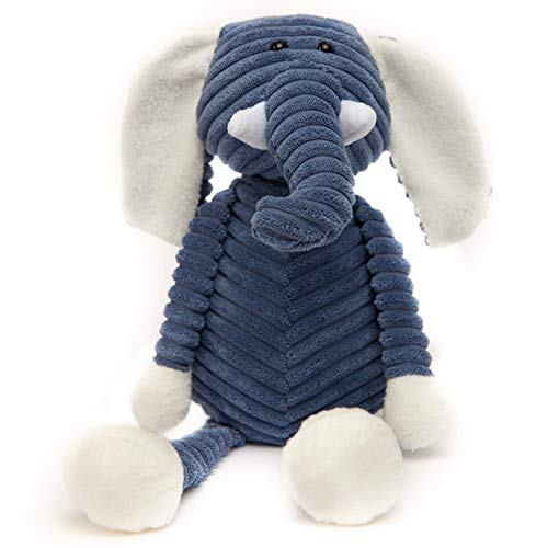 """Stuffed Animal Elephant Plush Toy Ultra Soft, Perfect for Baby, Children, Kids, Adult, Hand Made, Safe with Corduroy Body, with Organic PP Cotton 14"""" Armspan, 16"""" Tall"""