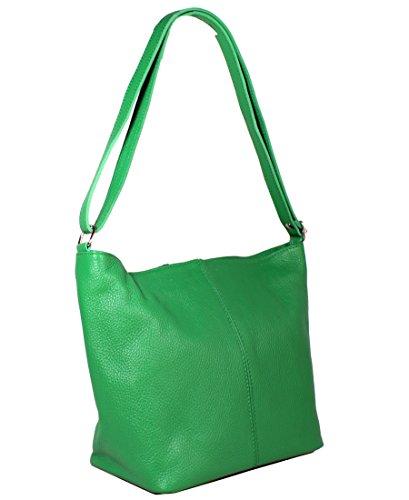 Freyday Echtleder Schultertasche in vielen Farben Henkeltasche Umhängetasche Made in Italy (Grün)