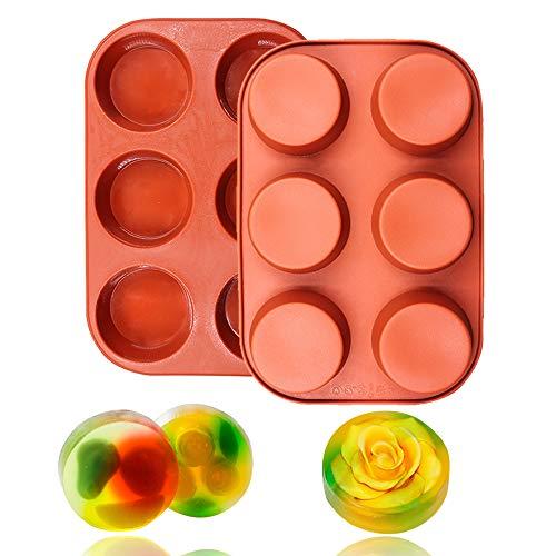 BAKER DEPOT 6 Hohlraum runde Silikonform für Muffin Cupcake, Brot, handgefertigte Seife Set von 2