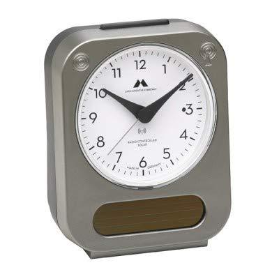 Uhren Maufaktur Schwarzwald Funk-Solar-Wecker Solar-unterstützt - lädt den integrierten Akku für eine längere Laufzeit – Made in Germany – Flüsterleises Uhrwerk, hochwertige Verarbeitung