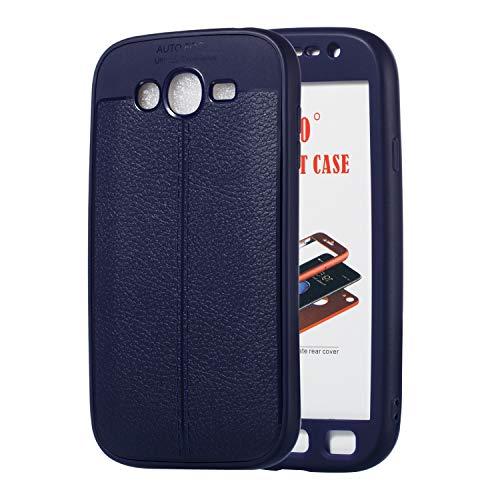 Uposao Cover Samsung Galaxy Grand i9080/Grand Duos i9082, 360 Gradi Cover Full Body Case Cover 2 in 1 Double Protection Ultra Sottile Flexible Soft TPU Silicone Gel e Leather Case Custodia-(Blu)