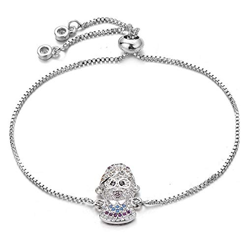 HappyL I Love Mom And Grandma Stepmother Charm Bracelet Adjustable Chain Cubic Zirconia Bracelet Female Jewelry Gift (Color : Silver)