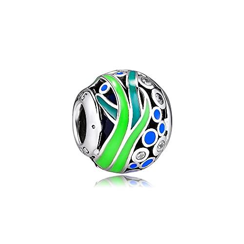 LILANG Pulsera de joyería Pandora 925, se Adapta a Las Cuentas de la Vida del océano Verde, abalorio de Plata esterlina para Mujeres, Regalos de Bricolaje