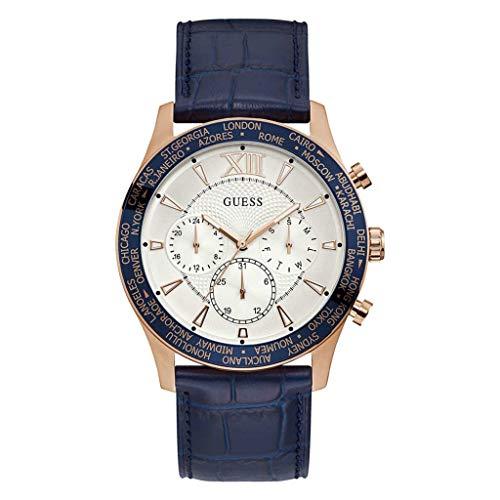 Guess Herren Analog Quarz Uhr mit Leder Armband W1262G4