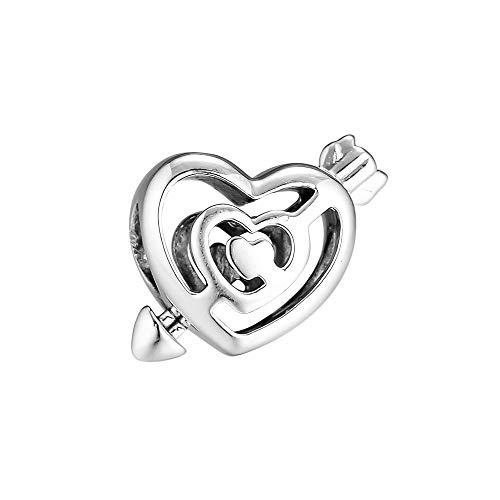 LILANG Pandora 925 Schmuck Armband Natural Fits Sterling Silber Openwork Herz Labyrinth Pfeil Charm Perlen Berloque Charmsy geeignet für Frauen DIY Geschenk