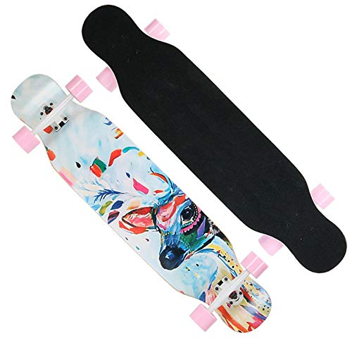 Longboard Skateboard 43 inch Drop Through Deck Complete Maple Freestyle Cruiser Camber Concave Downhill Dancing Longboard for Beginners,Girls,Boys-#1