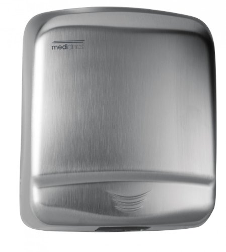 """Saniflow M99ACS Optima Automatic Hand Dryer, Stainless Steel AISI 304 One-piece Cover, 1/16"""" (1.5 mm) Thick, Satin Finish, Suitable for High Traffic Facilities, Zamak Air Outlet Grill"""