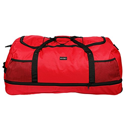 3 rollos – Bolsa de viaje – Bolsa de deporte – Bolsa de ocio – solo 1,4 kg – Plisadas – 80 cm – Volumen a 140 litros – 4 colores, Rojo (Negro) - LL-211011-NR