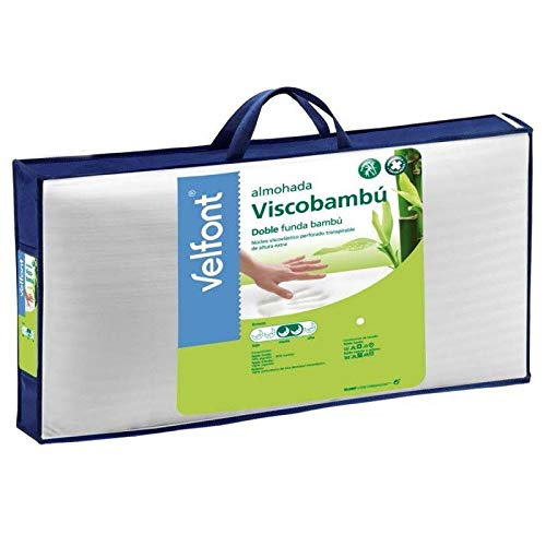 Velfont Almohada viscoelastica visco Bambu Micro-Perforada Transpirable Altura Extra 70cm