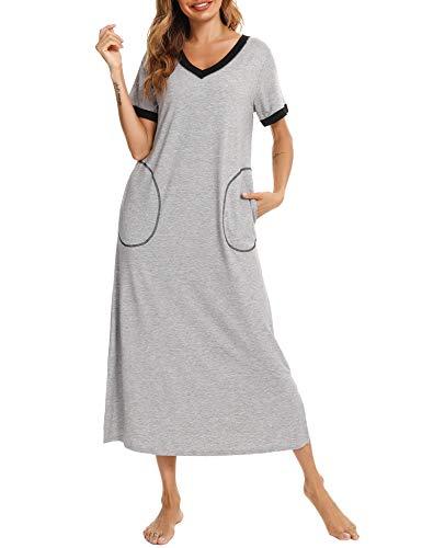 Doaraha Camisones Largos Mujer Camisón Suave Vestido Pijama Ropa de Dormir con Bolsillo Algodón Talla Grande Verano Cuello en V Manga Corta Loungewear (Gris, L)