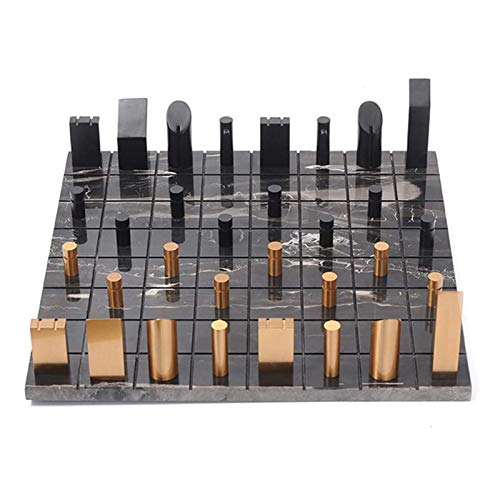 GUOZ Ajedrez Internacional Ajedrez Juegos de ajedrez para Adultos Tablero de ajedrez de mármol Piezas de ajedrez de Metal Juego de ajedrez de Rompecabezas