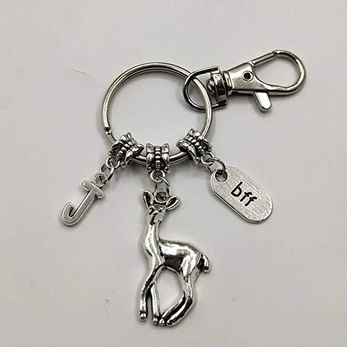 JINGZHONG Keychain,1Pcs Deer Keychain,Best Friend Key Chains,BFF Gifts, Charm Keychains,Initial Keychains