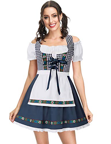 Womens Beer Maid Costume Bavarian Oktoberfest Plaid Beer Maiden Halloween Costume Navy Blue S