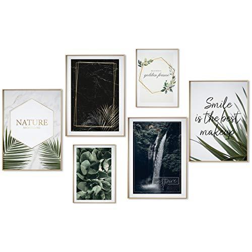 myestado® - Premium Poster Set Bilder Wohnzimmer Modern Schlafzimmer Bild für Ihre Wand - ohne Rahmen - 4 x DIN A3 & 2 x DIN A4 - ca. 30x42 & 21x30 » Nature «