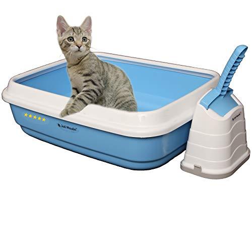 Joli Moulin Exclusiv Katzentoilette offen mit Rand 40x50x15 cm Set mit Streuschaufel und Hygiene-Behälter Non-TOXID Rohmaterial der Umwelt zuliebe HELLBLAU