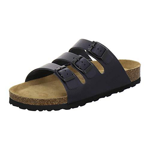 AFS-Schuhe 2133, sportliche Damen Pantoletten aus Leder, praktische Arbeitsschuhe, Bequeme Hausschuhe, Made in Germany (40 EU, Navy Glattleder)