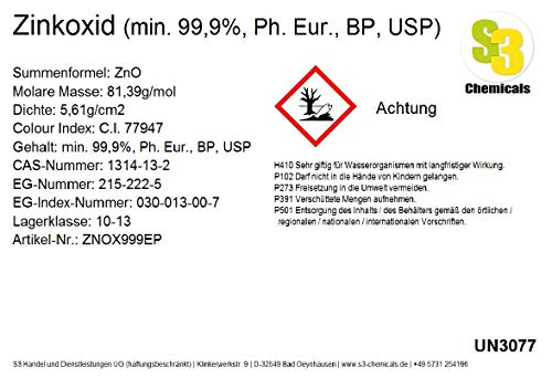 S3 Chemicals Zinkoxid (min. 99,9%, Ph. Eur, BP, USP) Gebindegröße 25kg