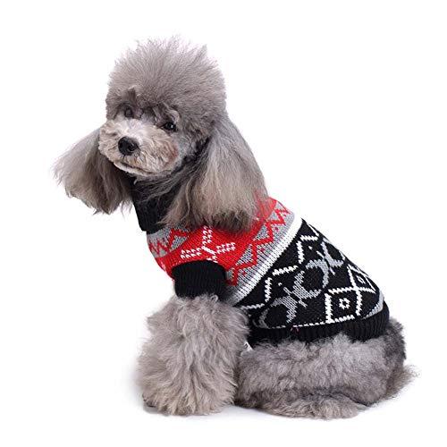 KSITH huisdier hond kleding trui botten gestreepte coltrui kleding kerst sneeuwvlok herfst en winter hond trui, S, L