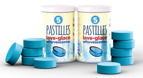 EXEL MOTOR® - EXEL LAVE GLACE - 2 boîtes de 5 pastilles Exel Lave-Glace® - Nettoyantes et anti-gel - 30 Litres de Lave-Glace dans 2 tubes - Concentré de Lave-Glace - Gain de place -