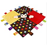Inchant Monkey Security Blanket with Tags - Soft Plush Lovey for Baby Boys and Girls, Animal Blankie Snuggle Blanket