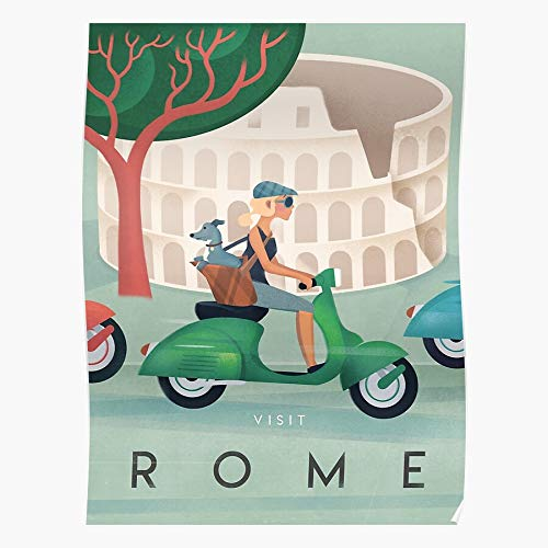 Dog Italy Travel Vintage Retro Womens City Rome Home Decor Wall Art Print Poster ! Home Decor Wall Art Print Poster !