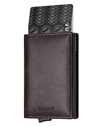 VULKIT Pocket Cartera Tarjetero Hombre Piel con Aluminio Caso RFID Bloqueo Tarjetero Minimalista con 3 Ranuras para Tarjetas y Billetes, Espresso