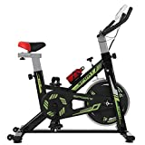 Exercise Bike, Stationary Bikes, Fitness Bike with Phone Holder, LCD Monitor and Comfortable Seat Cushion, Quiet Indoor Cycling Bikes for Home Gym Workout (Black)