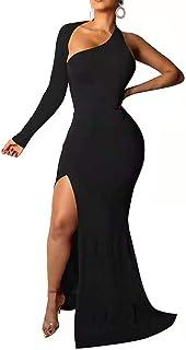 VERWIN Split Long Sleeve Floor-Length Oblique Collar Pullover Women's Backless Maxi Dress Bodycon Dress