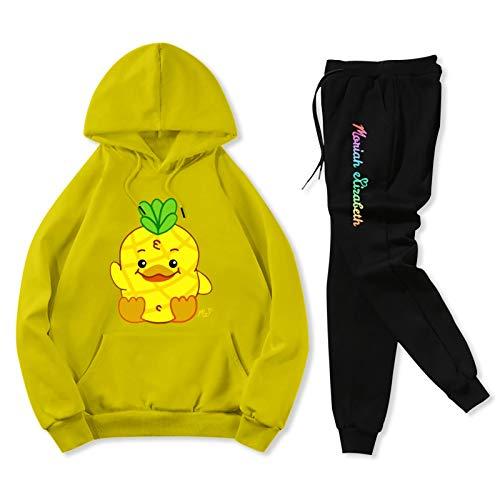 Teenagers Sport Hoodie Moriah Elizabeth Georgie Youth 2 Piece Suit Sweatpants Set Boys Girls Yellow and Black Youth S