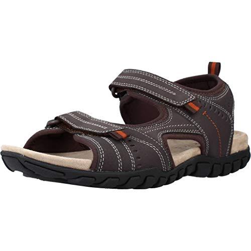 Geox Herren Trekking Sandalen Sand.MITO U92Q2A Männer Outdoor-Sandale,Sport-Sandale,Profilsohle,Doppelklett-Verschluss,BRAUN,41