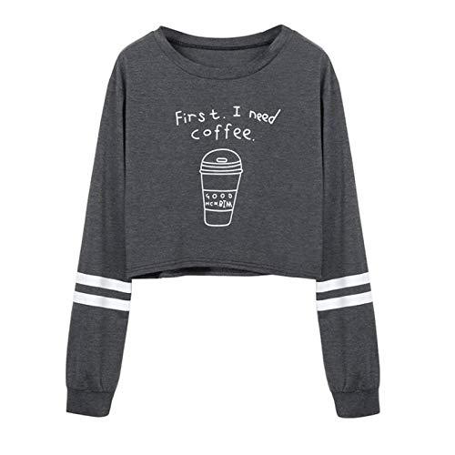 Amlaiworld Sudadera First i Need a Coffee niña otoño Camisa de Cuello Redondo Gris para Mujer Sudadera Informal de Manga Larga con Estampado de Letras Camiseta Blusas Tops