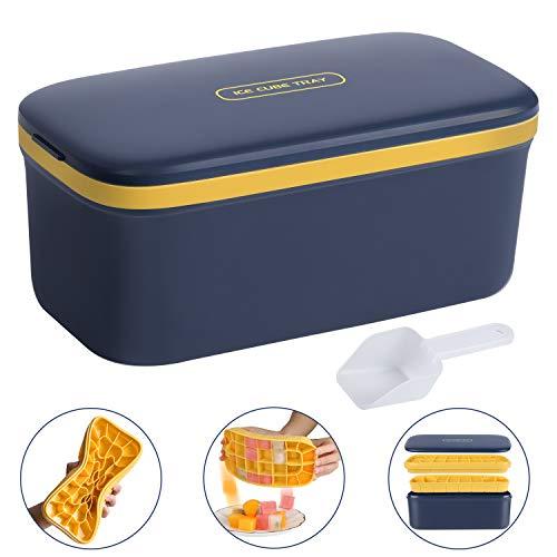 Morfone Eiswürfelform Eisbox mit Deckel, Doppelschicht Silikon Eiswuerfel Form Kunststoff Eiswürfelbox, Ice Cube Tray mit EiswürfelSchaufel und Deckel,LFGB Zertifiziert, 64 Fach