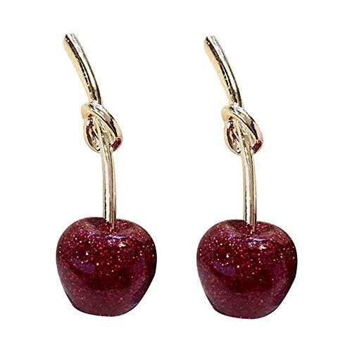 s925 silver women red cherries earrings, fashionable and lovely earrings