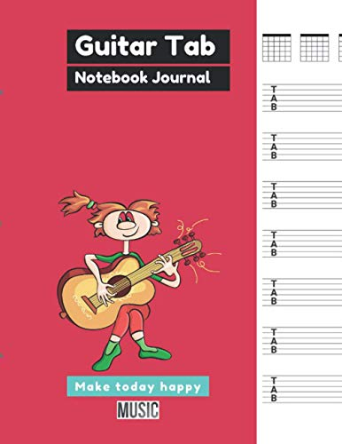 Guitar Tab Notebook Journal Amaranth cover, 100 pages - Large(8.5 x 11 inches)