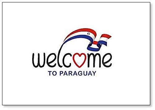 Kühlschrankmagnet, Motiv: Welcome to Paraguay mit Flagge