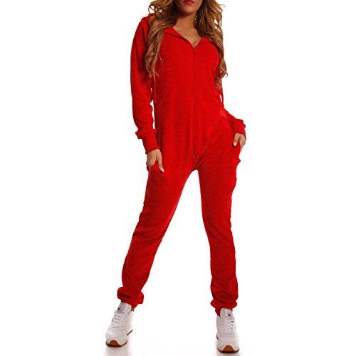 Crazy Age Damen Jumpsuit aus Samt (Nicki, Velvet) Wohlfühlen mit Style. Elegant, Kuschelig, Weich. Overall, Ganzkörperanzug, Jogging - Freizeit Anzug, Onesie (Rot, XS)