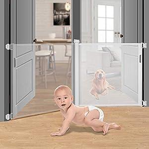 johgee Retráctil puertas de seguridad para niños, fácil de rodar y enganchar para escaleras Pasillos Pasillos, 86cm de alto, se extiende hasta 140cm, blanco