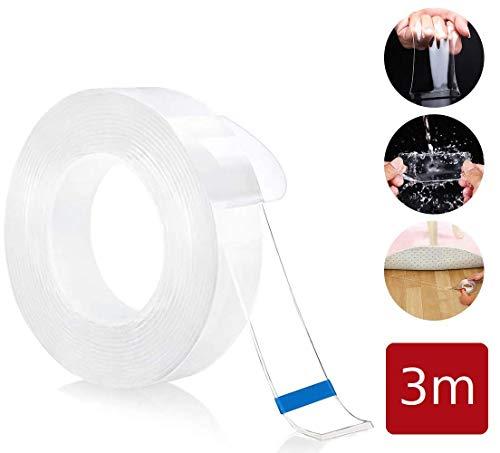 PfX Extrem Starkes Premium Nano Tape [3m] - Neue 2020 Version - Wiederverwendbares Transparentes Nano Klebeband (3m)