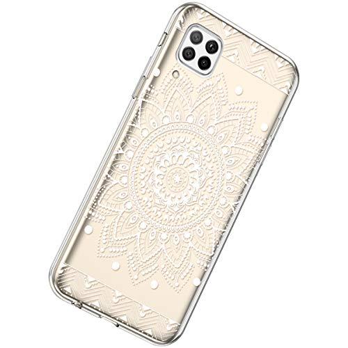 Herbests Kompatibel mit Huawei P40 Lite Hülle Silikon Weich TPU Handyhülle Durchsichtige Schutzhülle Niedlich Muster Transparent Ultradünn Kristall Klar Handyhülle,Weiße Mandala