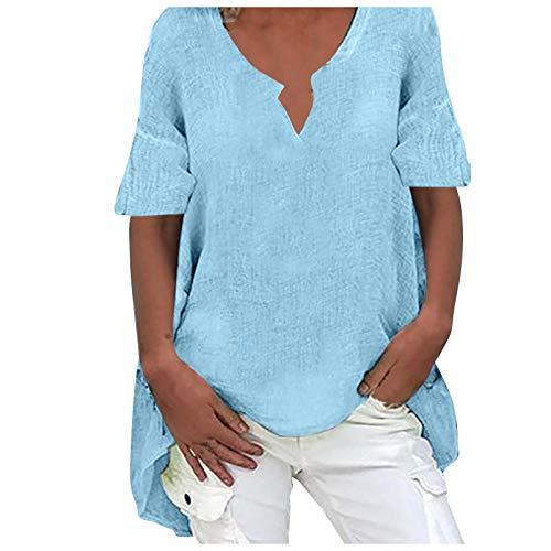 Masrin Übergroßes T-Shirt Damenoberteile Lässige einfarbige Baumwolle Leinen Pullover Langarm Langarm V-Ausschnitt Asymmetrische Saum Lose Bluse (L,Blau)