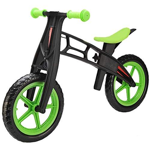 YHLZ Bicicleta de Equilibrio de los niños, Vespa Infante Luminoso Dos Ruedas Bicicleta de Equilibrio 4-6 años Los niños Walker 12 Pulgadas de la Bicicleta del Montar Altura Ajustable (Color : Green)