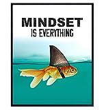 Mindset is Everything - Motivational Wall Art Poster for Home, Office - Gift for Entrepreneur, Student, Men, Teens - Inspirational Decor - Uplifting Self-Improvement Positive Quote - Shark Goldfish
