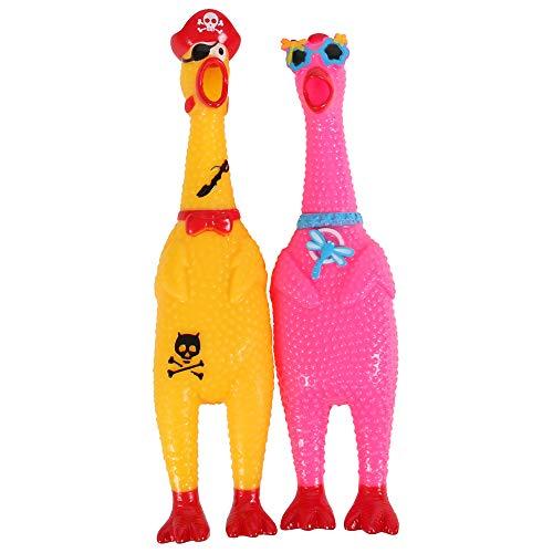 Alsino Schreiende Gummihühner Quietschhühner mit Sonnenbrille und Piratenlook im 2er-Set Screaming Chicken Spielzeug Haustier-Hundespielzeug in Orange und Gelb