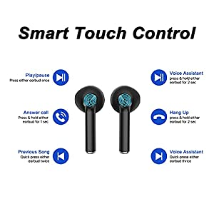 True Wireless Earbuds, Bluetooth Headphones, Smart Display,Touch Control, with Wireless Charging Case,IPX5 Waterproof, Stereo Earphones in-Ear Built-in Mic Headset Premium, Deep Bass for Sport