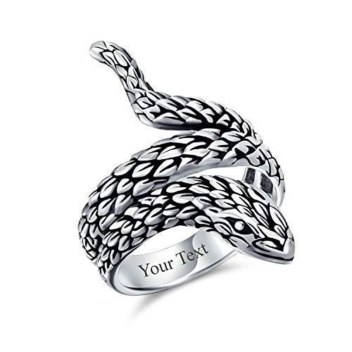 Unisex Boho Declaración de moda Vintage estilo envolvente abierta serpiente serpiente serpiente anillo para hombres mujeres oxidado 925 plata de ley