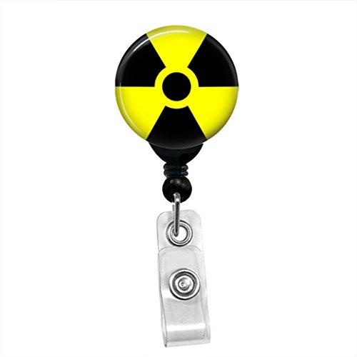 Radioactive Symbol Zombie Radiology ID Card Name Tag Custom Retractable Badge Reel Lanyard Badge Holder (Black Badge Reel with Belt Slide Clip)
