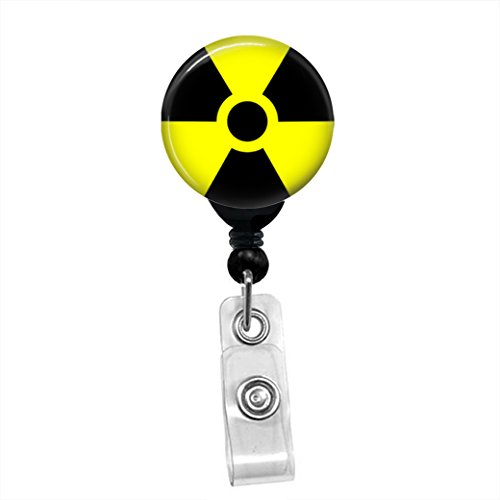 Radioactive Symbol Zombie Radiology ID Card Name Tag Custom Retractable Badge Reel Lanyard Badge Holder (Black Badge Reel with Spring Pinch Clip)