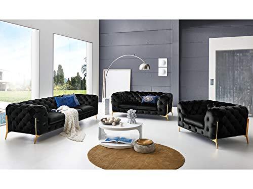 Moebella Designer Couchgarnitur 3-2-1-Sitzer Chesterfield Sofas Superior Samt-Stoff goldene Füße Knopfheftung Deluxe Möbel (Schwarz)