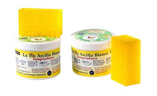 Bio Arcilla Blanca Limpiadora 1200 GR (Lote 2 tarros, incluye 2 esponjas)