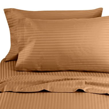 Best Prices! Brown (Bronze) Stripe King Size Size SIX piece [6] Bed Sheet Set (Deep Pocket) with FOU...